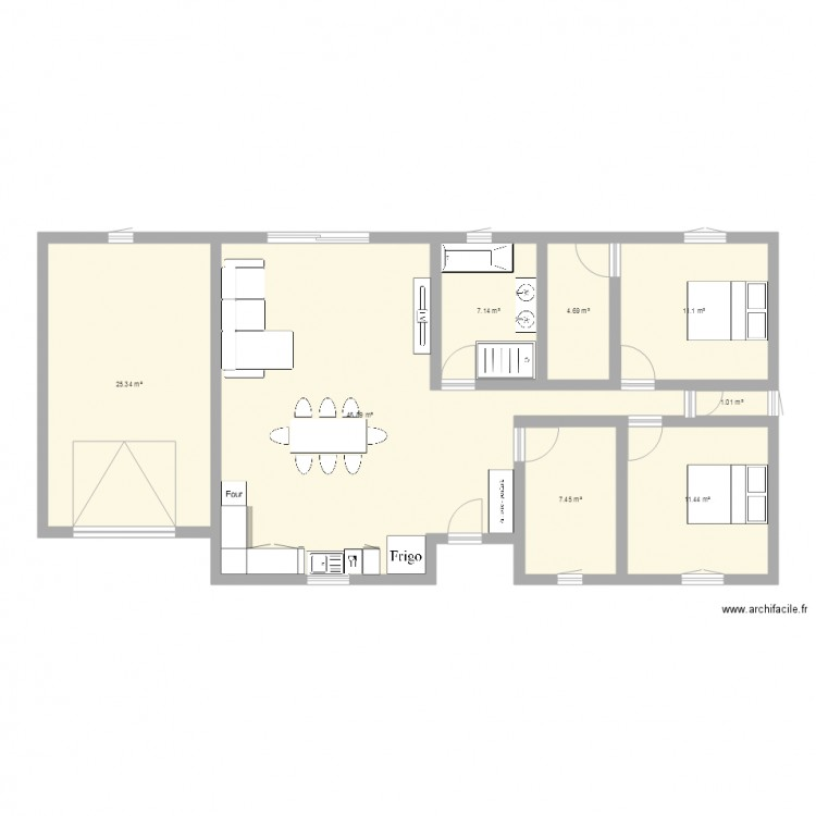 Maison plan 8 pi ces 115 m2 dessin par ecliment - Plan de maison 2 pieces ...