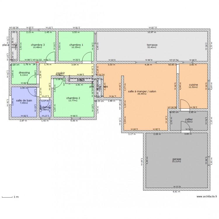 Maison t4 pp avec garage plan 15 pi ces 186 m2 dessin for Plan maison t4