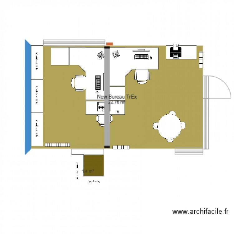 New bureau trex plan 2 pi ces 24 m2 dessin par marianne for Nombre de m2 par personne bureau