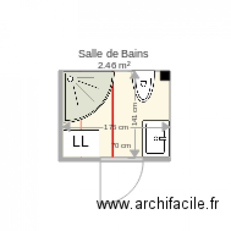Salle de bains 90x90 allia plan 1 pi ce 2 m2 dessin par for Salle de bain 2 m2