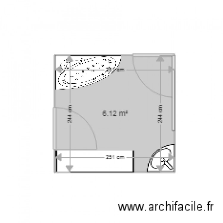 salle de bain plan 1 pi ce 6 m2 dessin par pac31. Black Bedroom Furniture Sets. Home Design Ideas