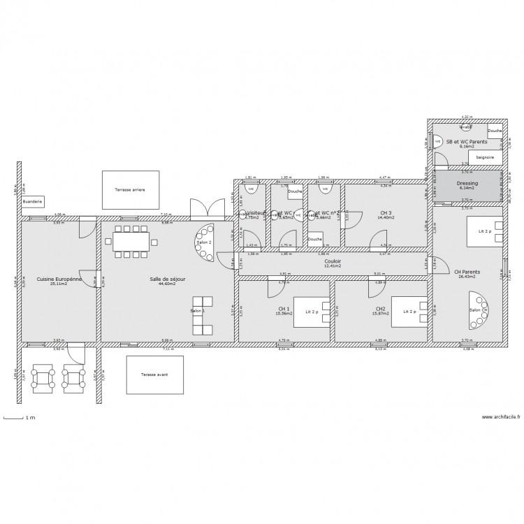 Villa basse 5 pi ces plan 12 pi ces 185 m2 dessin par for Plan villa basse
