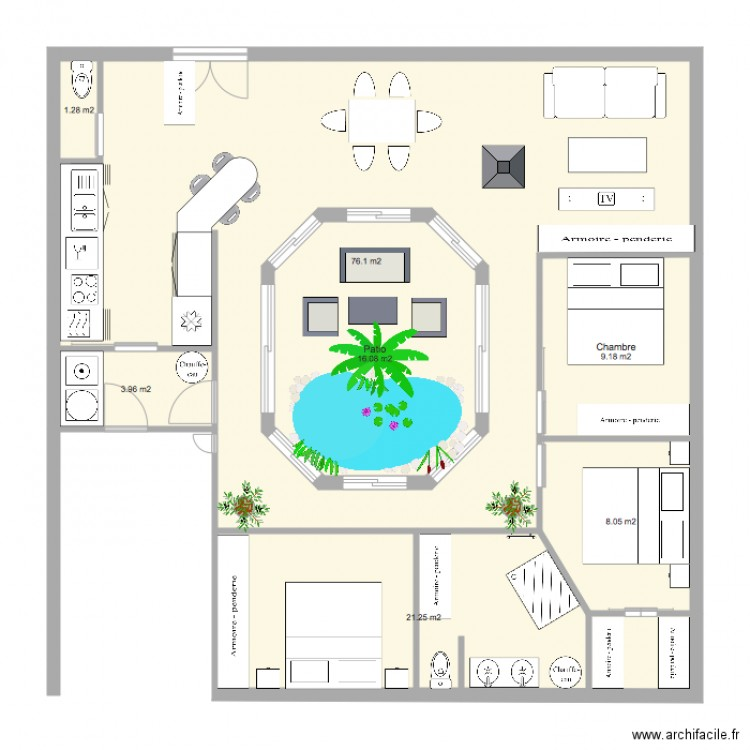 maison avec patio central plan 7 pi ces 136 m2 dessin. Black Bedroom Furniture Sets. Home Design Ideas