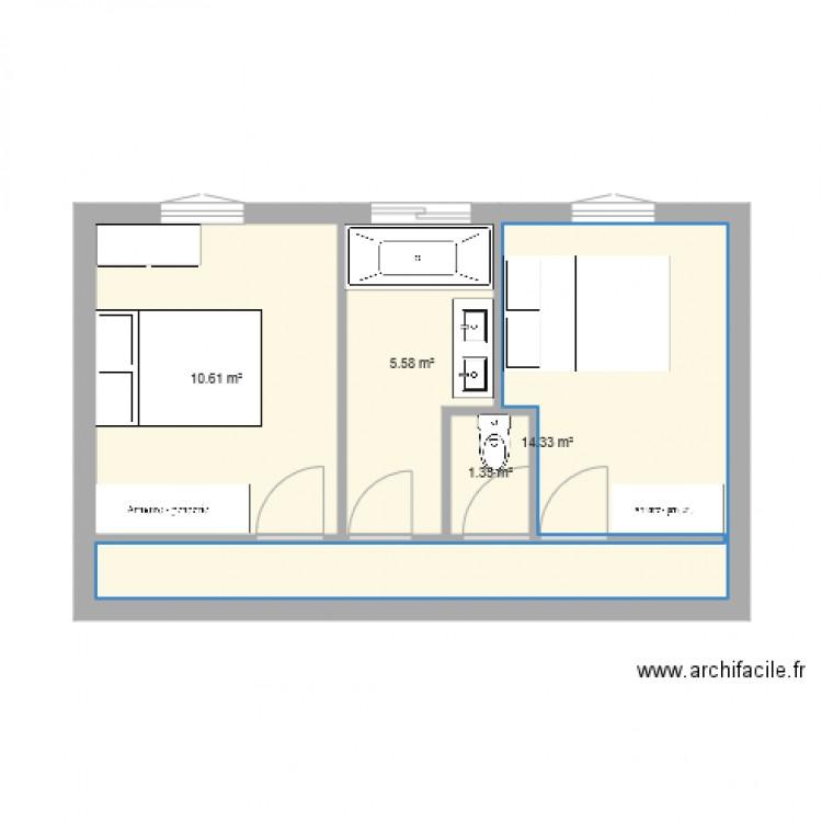 Maison bis plan 4 pi ces 32 m2 dessin par joebar77 - Consommation electrique moyenne maison 140 m2 ...