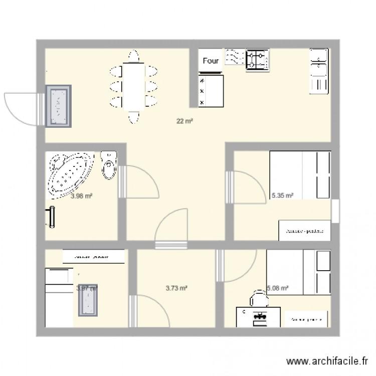 Maison plan 6 pi ces 44 m2 dessin par hellokytty - Plan de maison 2 pieces ...