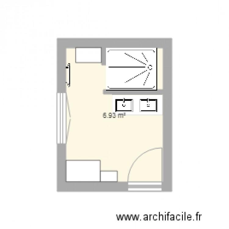 salle de bain plan 1 pi ce 7 m2 dessin par cadrousse. Black Bedroom Furniture Sets. Home Design Ideas