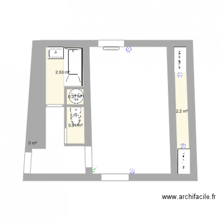 salle de bain et chambre plan 5 pi ces 6 m2 dessin par sabline. Black Bedroom Furniture Sets. Home Design Ideas