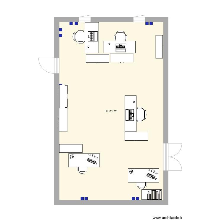 Bureau mezzanine plan 1 pi ce 49 m2 dessin par malkkom for Nombre de m2 par personne bureau