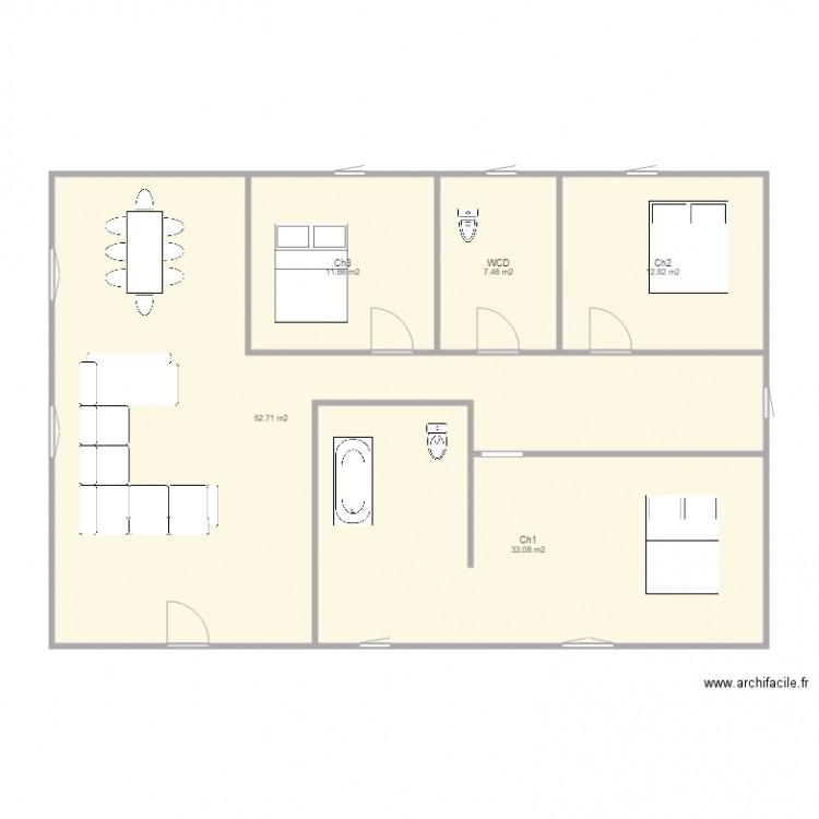 plan niaoue plan 5 pi ces 118 m2 dessin par niaoue. Black Bedroom Furniture Sets. Home Design Ideas