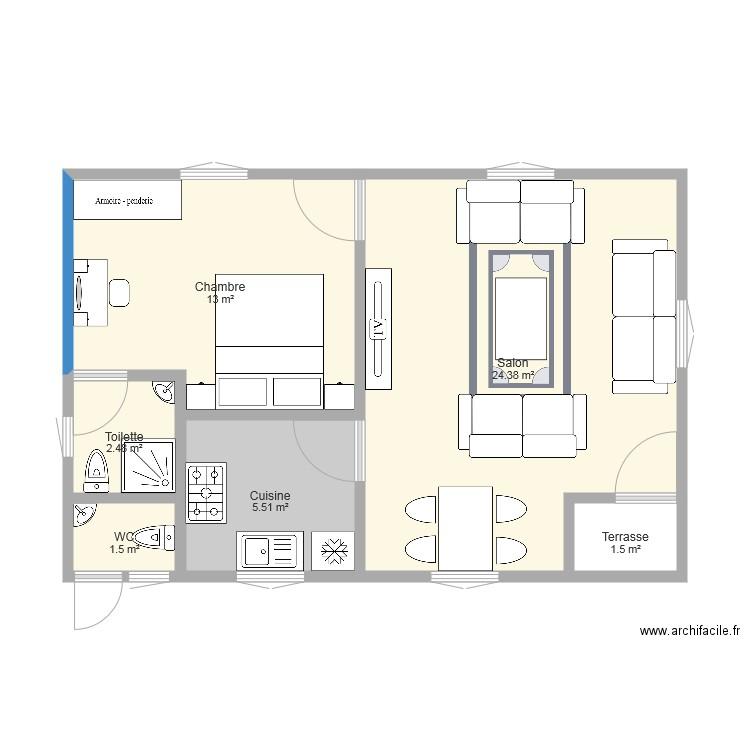 studio moderne plan 6 pi ces 48 m2 dessin par amy85. Black Bedroom Furniture Sets. Home Design Ideas