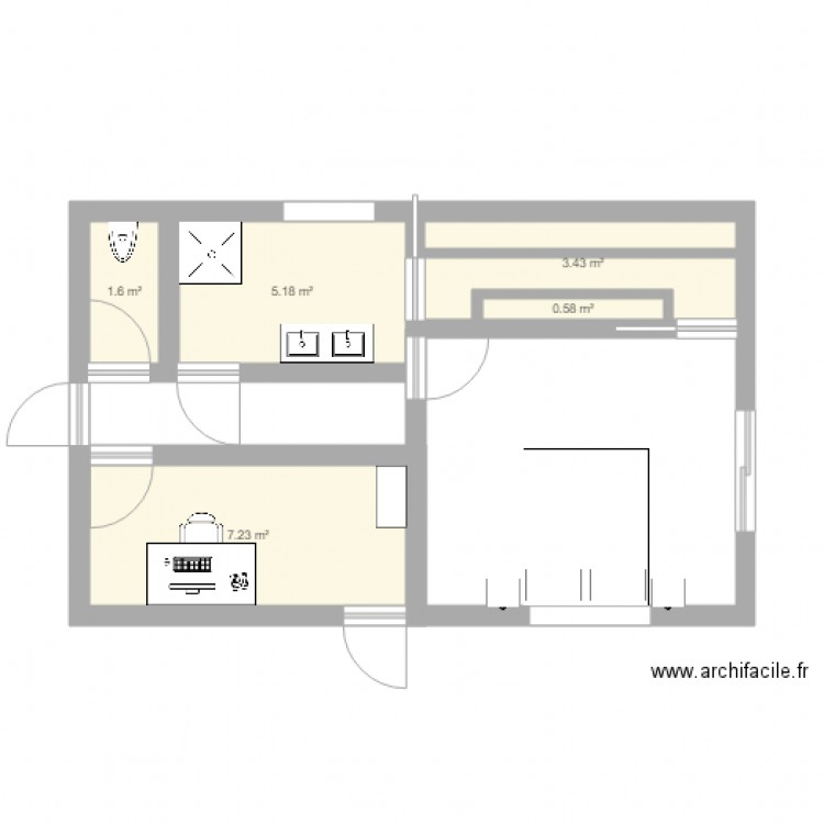 suite parentale plan 5 pi ces 18 m2 dessin par msteph38. Black Bedroom Furniture Sets. Home Design Ideas
