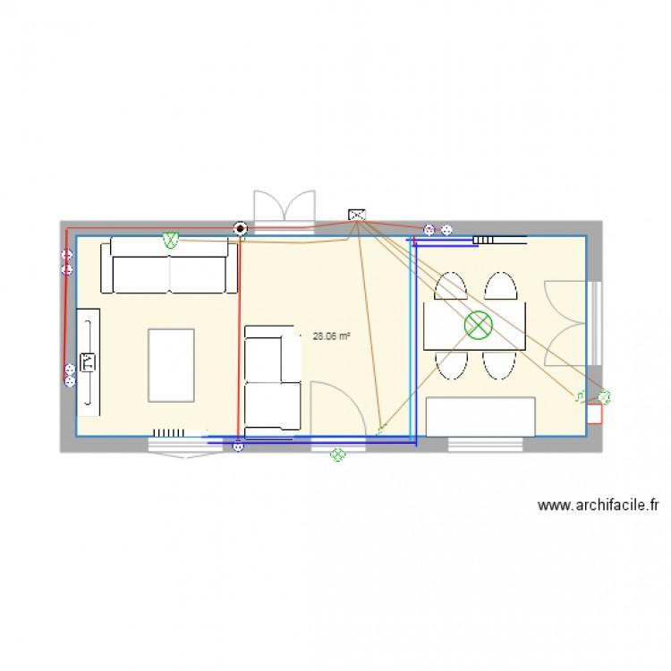 Extension maison plan 1 pi ce 28 m2 dessin par laurentbabou for Extension maison facile
