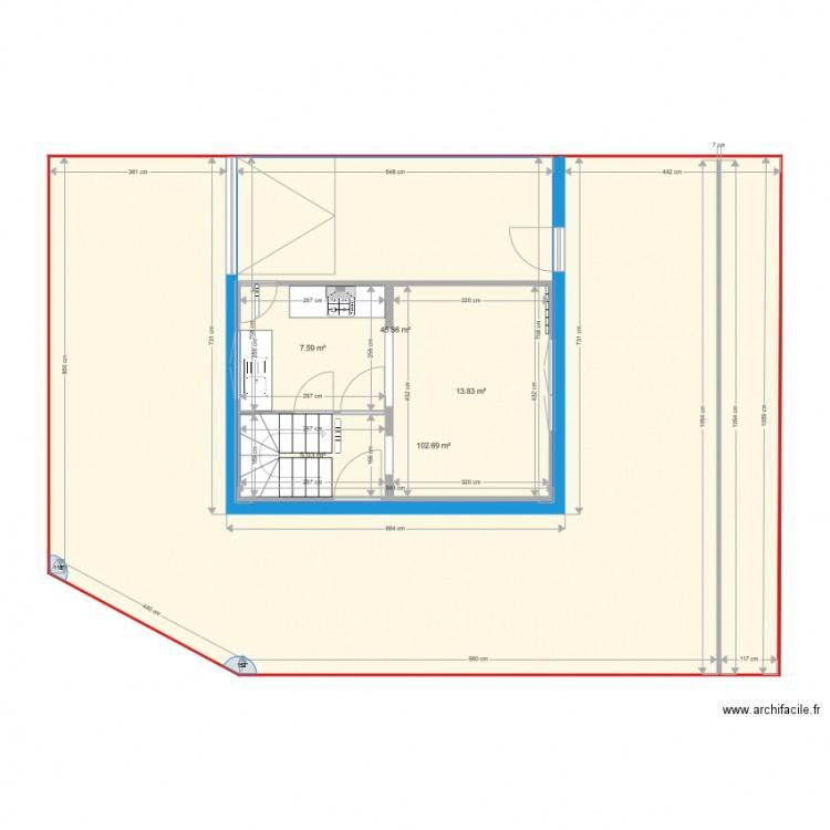 maison rez de chauss plan 5 pi ces 175 m2 dessin par marie martineau. Black Bedroom Furniture Sets. Home Design Ideas