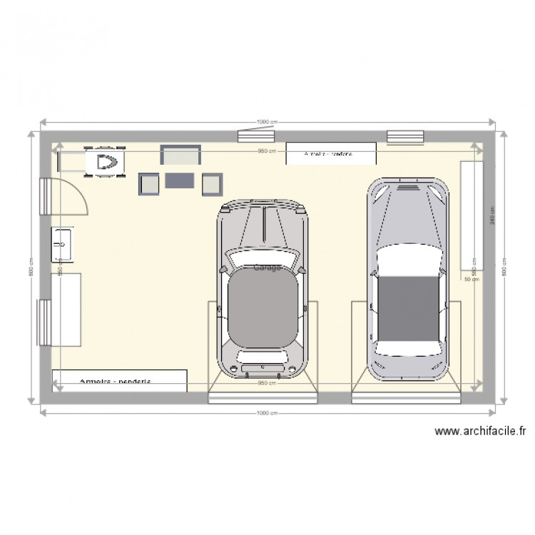 Plan garage toit plat plan 1 pi ce 52 m2 dessin par for Plan de garage