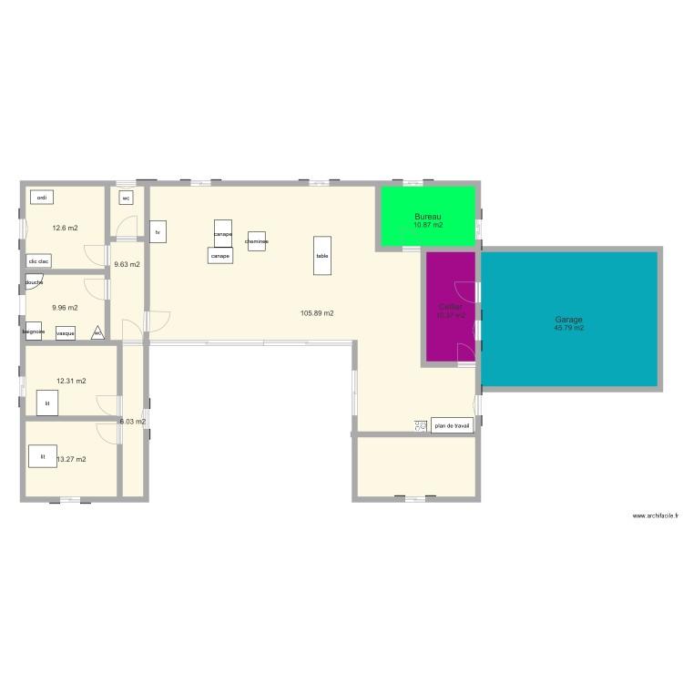 Maison en u plan 10 pi ces 237 m2 dessin par ophelie priser for Taille moyenne maison