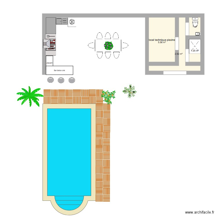 pool house piscine olivier plan 4 pi ces 11 m2 dessin par lenissart66. Black Bedroom Furniture Sets. Home Design Ideas