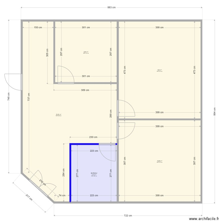 fr bureaux ats plan 9 pi ces 89 m2 dessin par la maison des travaux caen ouistreham. Black Bedroom Furniture Sets. Home Design Ideas