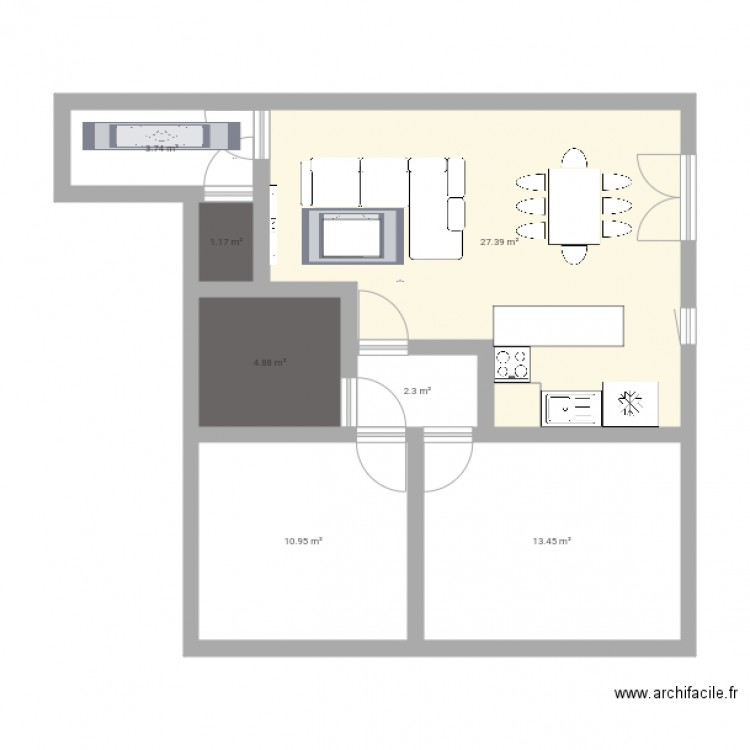 Appartement b14 plan 8 pi ces 64 m2 dessin par yaya 512 for 512 plan