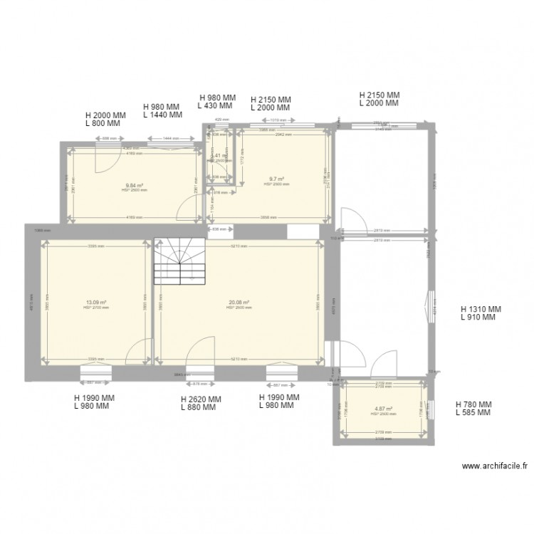 Maison landerneau version 6 plan 6 pi ces 59 m2 dessin for Location garage landerneau