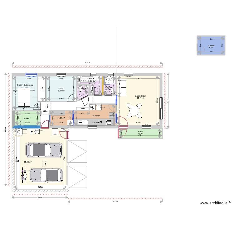 Plan Ok Garage Et Maison Longueur Bureau Dans Chambre Plan 12 Pieces 126 M2 Dessine Par Zazza