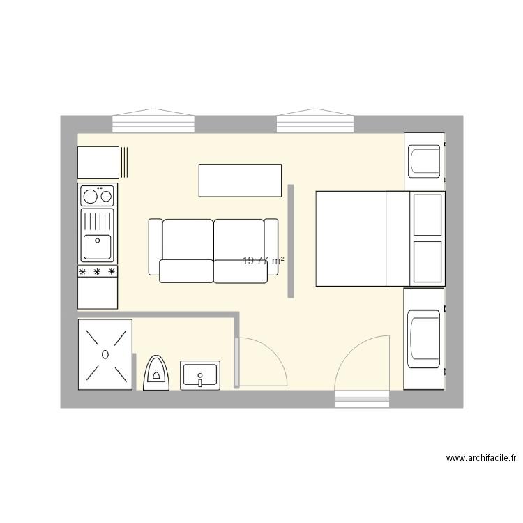 studio 20m2 - Plan 1 pièce 20 m2 dessiné par charly 06