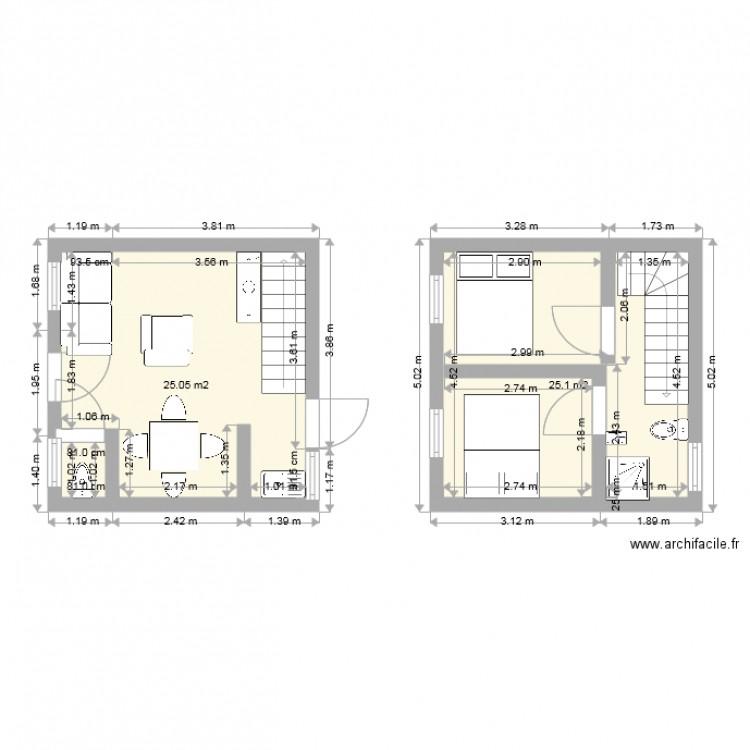 Plan 50m2 En Duplex Plan 3 Pieces 51 M2 Dessine Par Yom