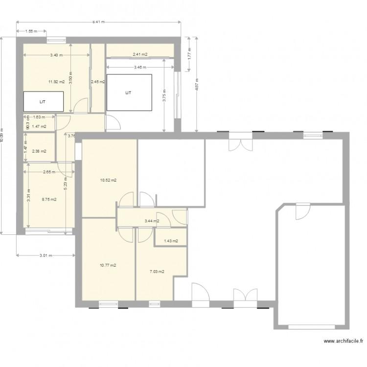 Ma maison plan 12 pi ces 66 m2 dessin par herve for Dessine ma maison gratuitement