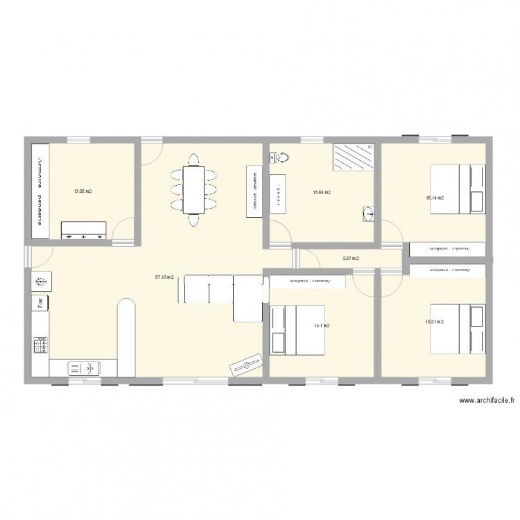 Villa f4 plan 7 pi ces 131 m2 dessin par alexfrno for Plan maison type f4