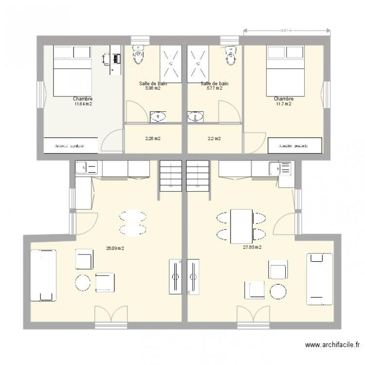 plan maison type T2 - Plan 8 pièces 96 m2 dessiné par vinje