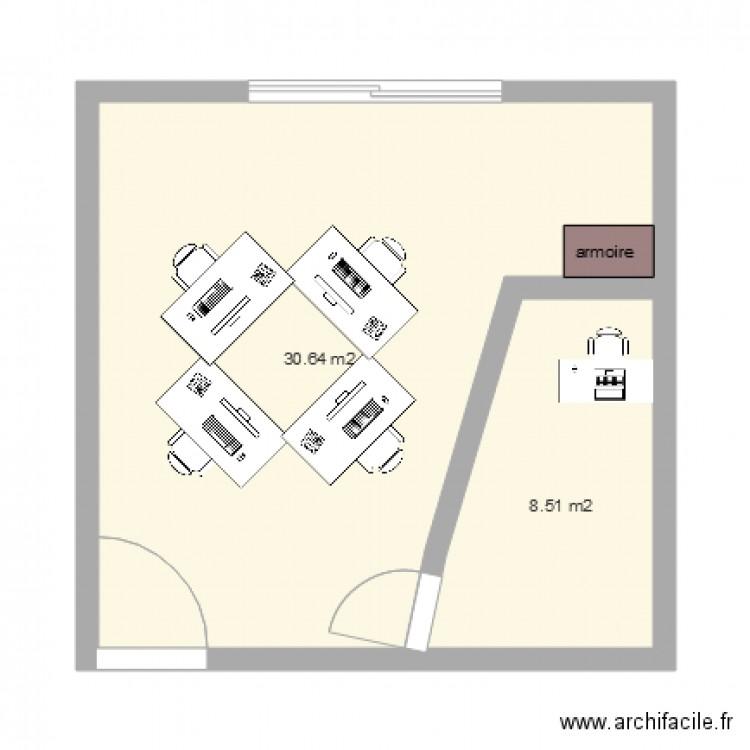 Bureau plan 2 pi ces 39 m2 dessin par omegatel for Nombre de m2 par personne bureau