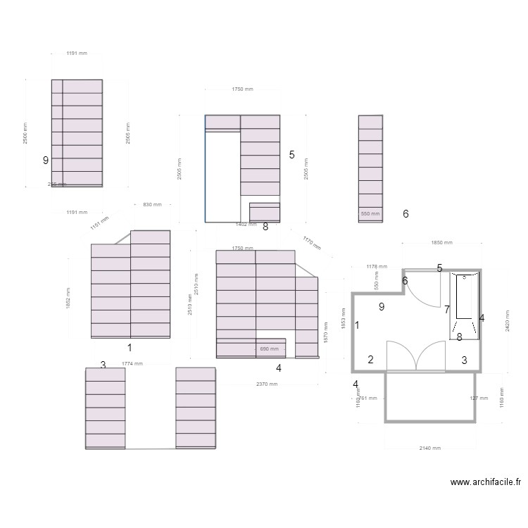 faience sdb2 plan 4 pi ces 18 m2 dessin par anouche55. Black Bedroom Furniture Sets. Home Design Ideas