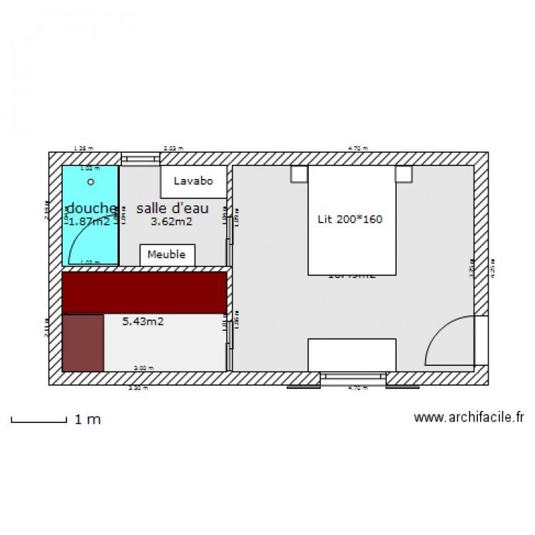 agrandissement maison plan 4 pi ces 27 m2 dessin par. Black Bedroom Furniture Sets. Home Design Ideas