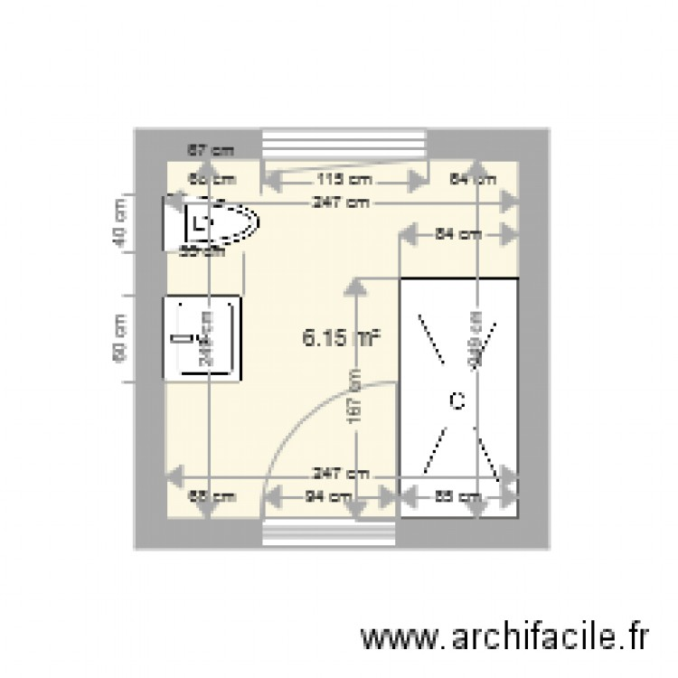 salle de bain plan 1 pi ce 6 m2 dessin par marilles. Black Bedroom Furniture Sets. Home Design Ideas