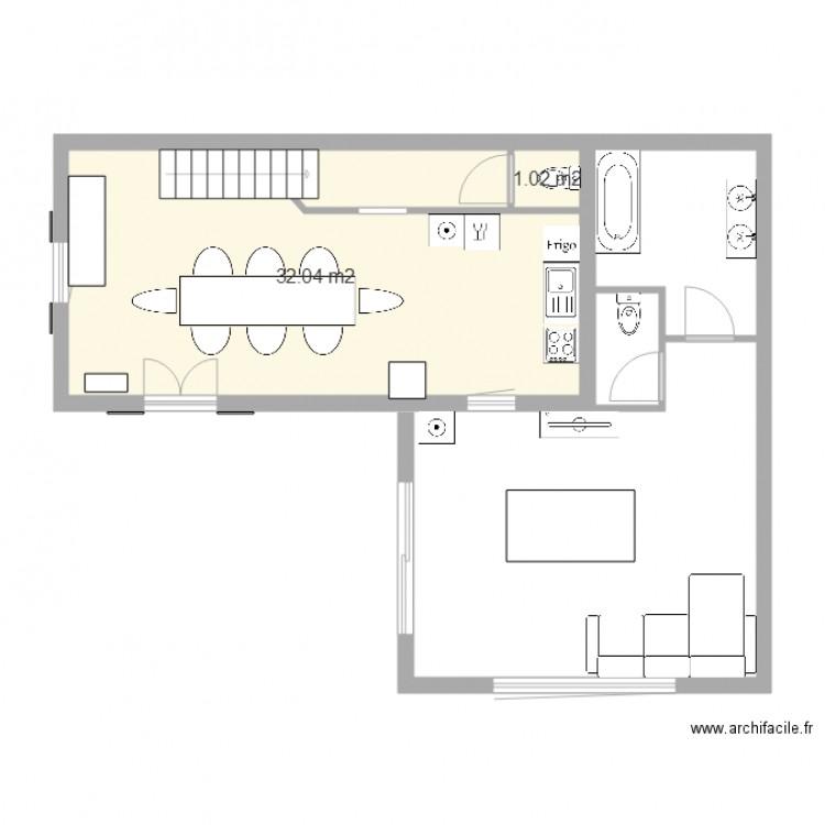 plan de maison plan 2 pi ces 33 m2 dessin par maison. Black Bedroom Furniture Sets. Home Design Ideas
