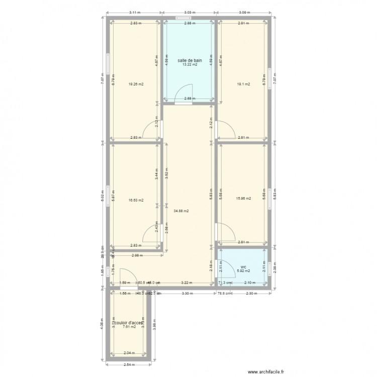 Extension pour 4 chambre sdb et wc plan 8 pi ces 133 m2 dessin par leritale - Wc petite taille ...
