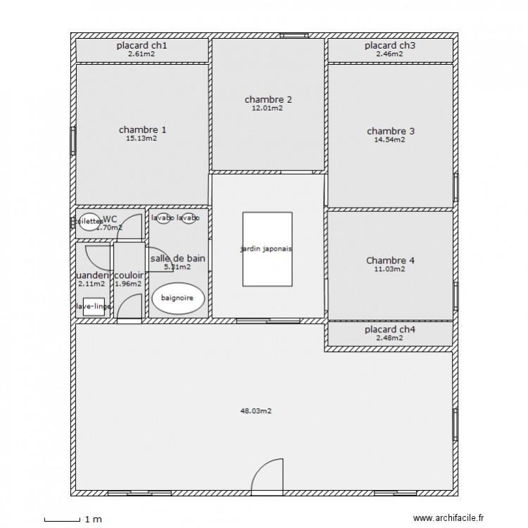 maison avec jardin japonais plan 13 pi ces 132 m2 dessin par lioneljorand. Black Bedroom Furniture Sets. Home Design Ideas