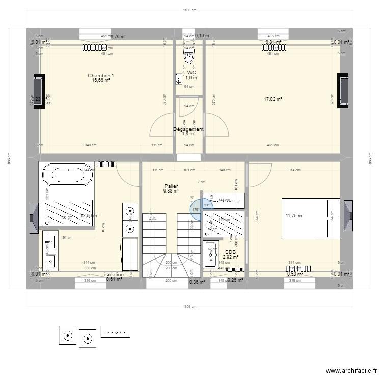 voltaire cuisine U - Plan 7 pièces 75 m2 dessiné par vince81