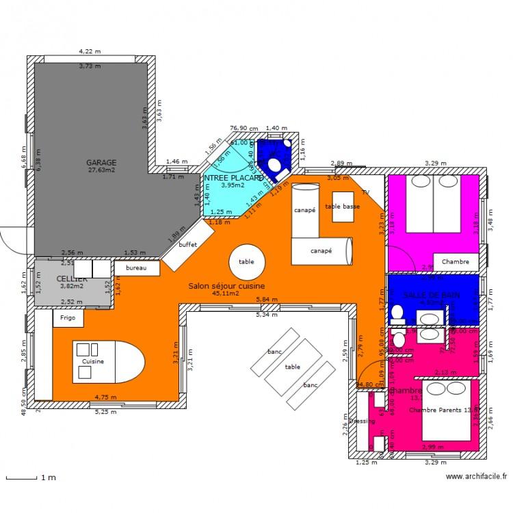 Maison u 110m2 plan 8 pi ces 110 m2 dessin par gigi971 for Plan maison 110m2