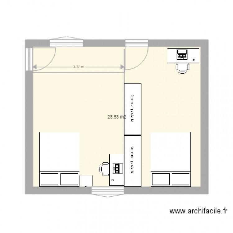 Chambre plan 1 pi ce 29 m2 dessin par aure64 for Chambre one piece
