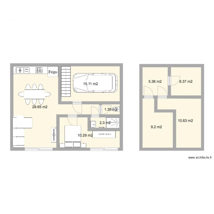 Renovation grange plan 9 pi ces 90 m2 dessin par neya34 - Plan renovation maison ...