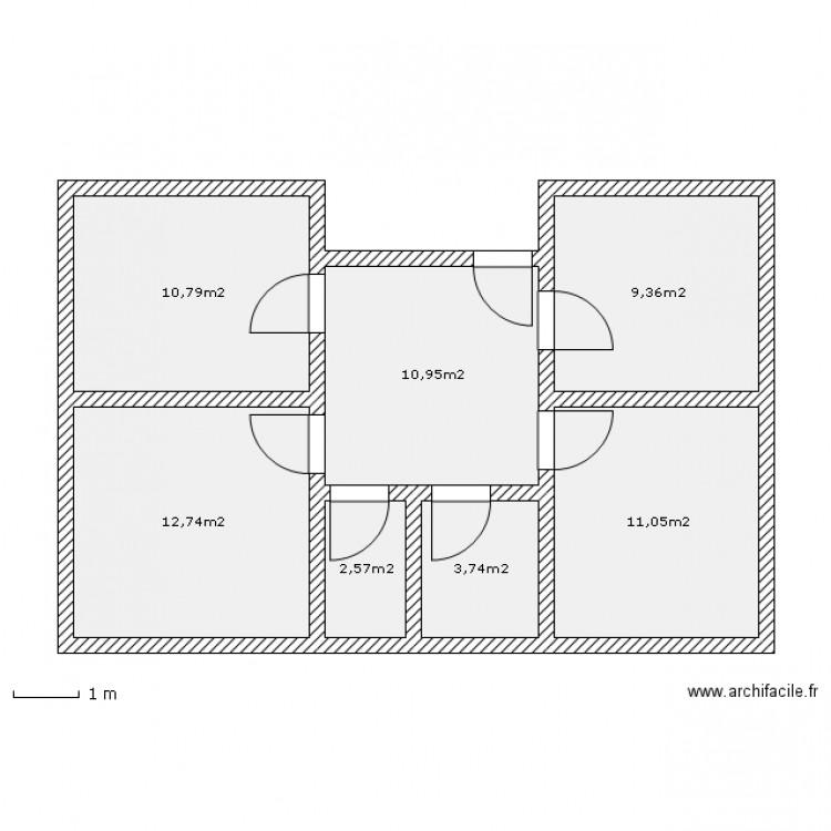 project appart plan 7 pi ces 61 m2 dessin par adrien suppa. Black Bedroom Furniture Sets. Home Design Ideas