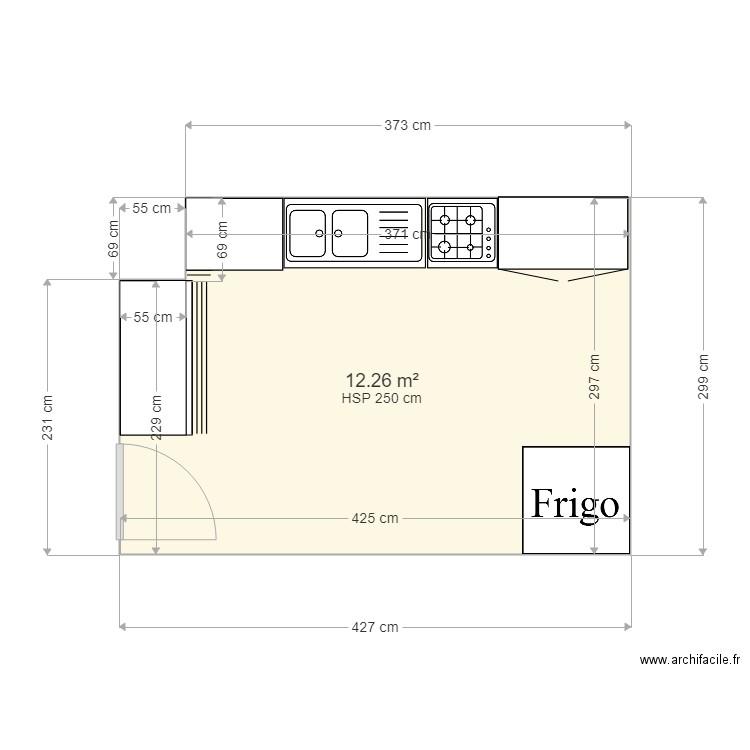 plan cuisine plan 1 pi ce 12 m2 dessin par raoufyounes. Black Bedroom Furniture Sets. Home Design Ideas