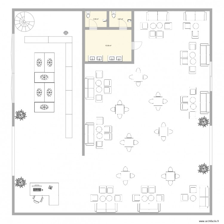 rez de chauss plan 3 pi ces 22 m2 dessin par maryame. Black Bedroom Furniture Sets. Home Design Ideas