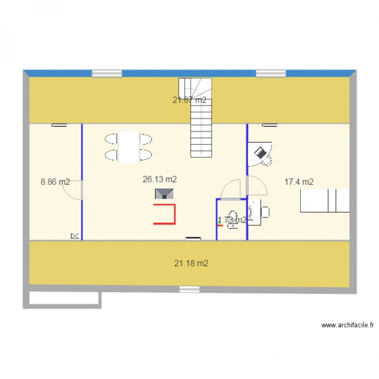 Plan combles am nagement v1 plan 6 pi ces 97 m2 dessin par laurent60 - Plan d amenagement de combles ...