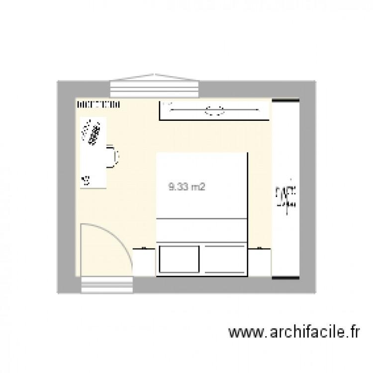 Chambre 1 plan 1 pi ce 9 m2 dessin par sylbour for Chambre one piece