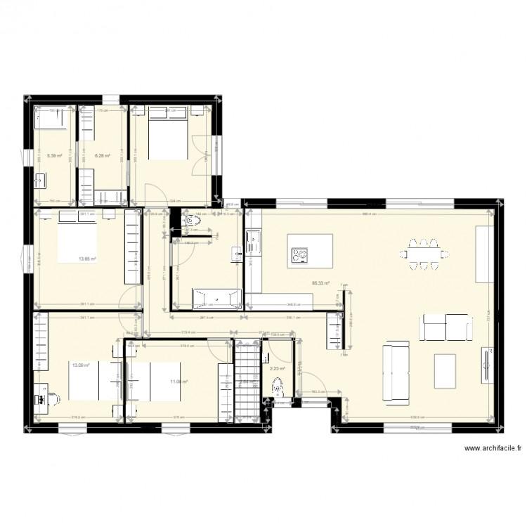 Plan maison 2 plan 8 pi ces 140 m2 dessin par samdav for Plan maison 140m2
