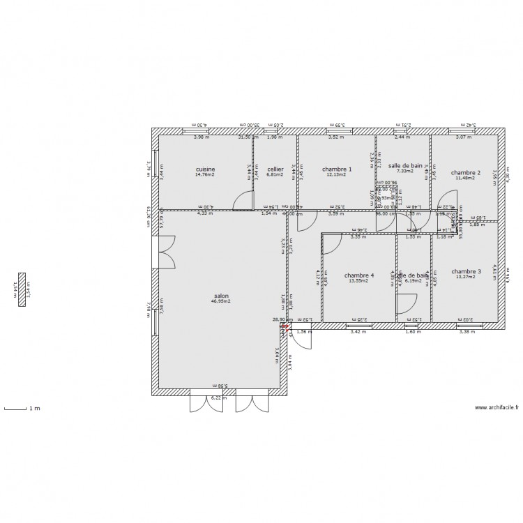 plan mikit 6 plan 11 pi ces 147 m2 dessin par maison plein pied. Black Bedroom Furniture Sets. Home Design Ideas