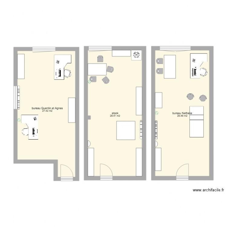 bureaux bertrange plan 3 pi ces 84 m2 dessin par agnesfaid. Black Bedroom Furniture Sets. Home Design Ideas
