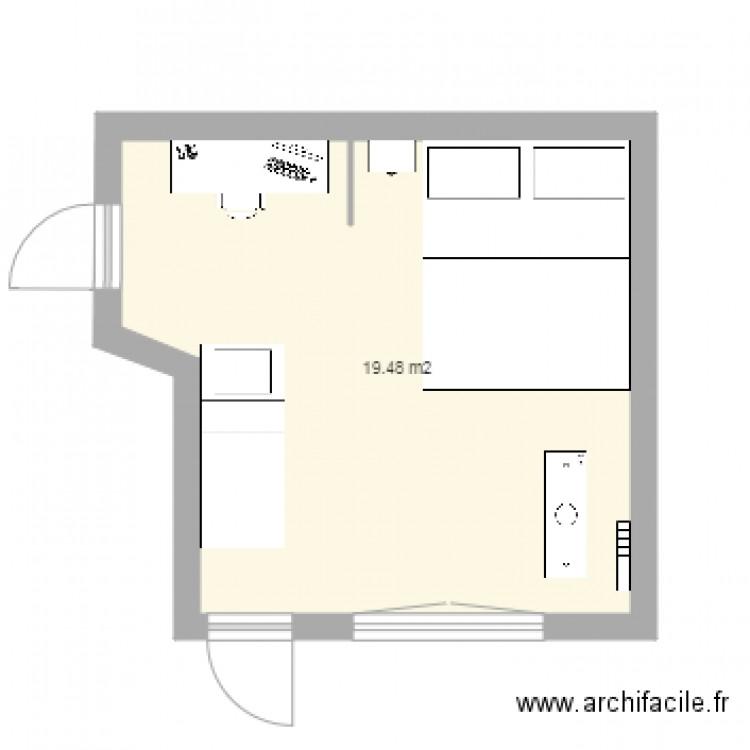 Lit face fenetre plan 1 pi ce 19 m2 dessin par natouchka23 for Nombre de m2 par personne bureau