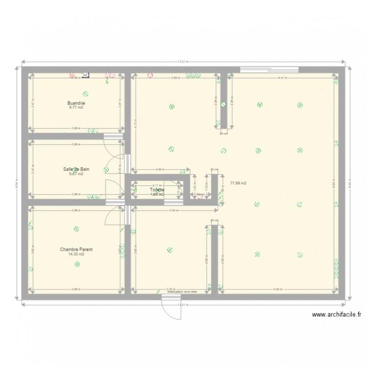 maison rez de chaussee plan 5 pi ces 107 m2 dessin par frakzor. Black Bedroom Furniture Sets. Home Design Ideas